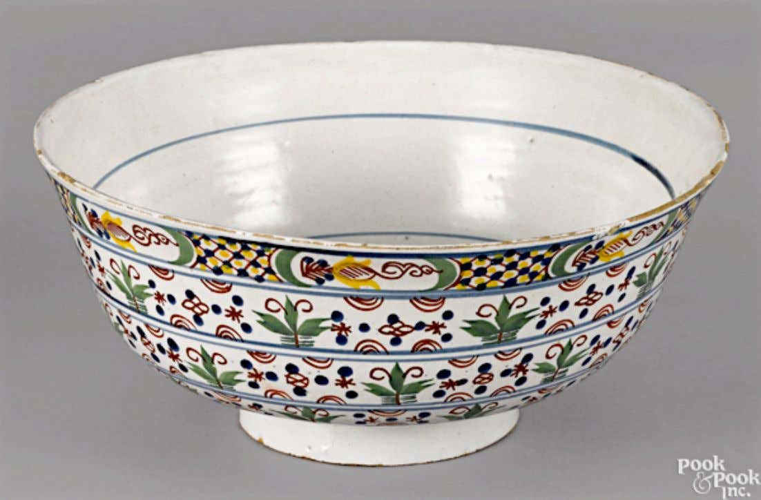English Tin Glazed Polychrome Earthenware Punch Bowl from London Mid 18th Century (Pook & Pook