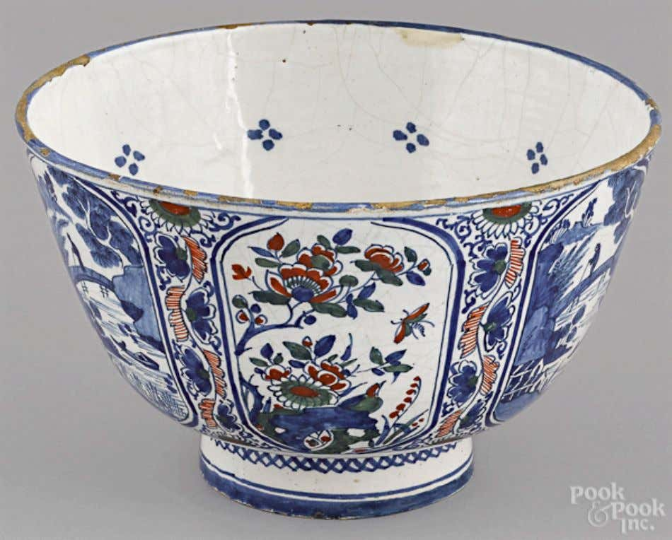 English Tin Glazed Polychrome Earthenware Punch Bowl Mid 18th Century (Pook & Pook Inc.)