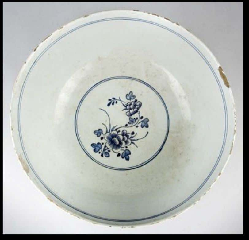 English Tin Glazed Earthenware Delft Punch Bowl with Peony Decoration c. 1750 (Private Collection)
