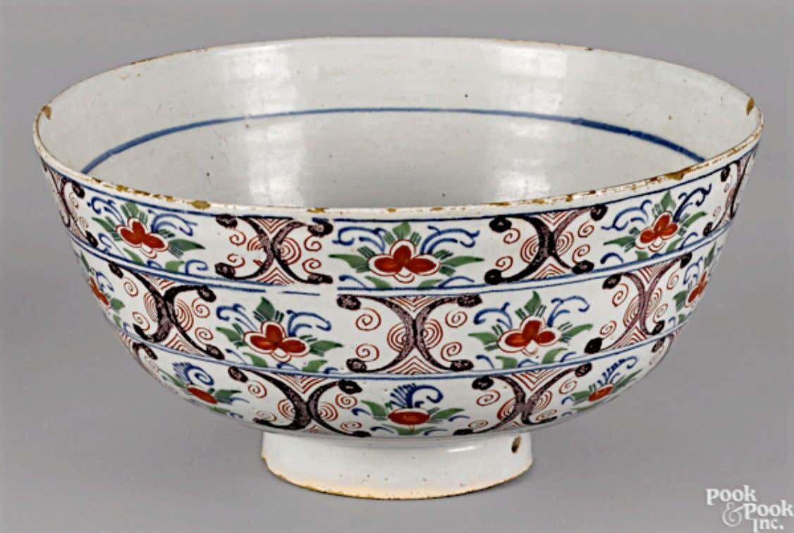 English Tin Glazed Polychrome Earthenware Punch Bowl from Bristol or London Mid 18th Century (Pook