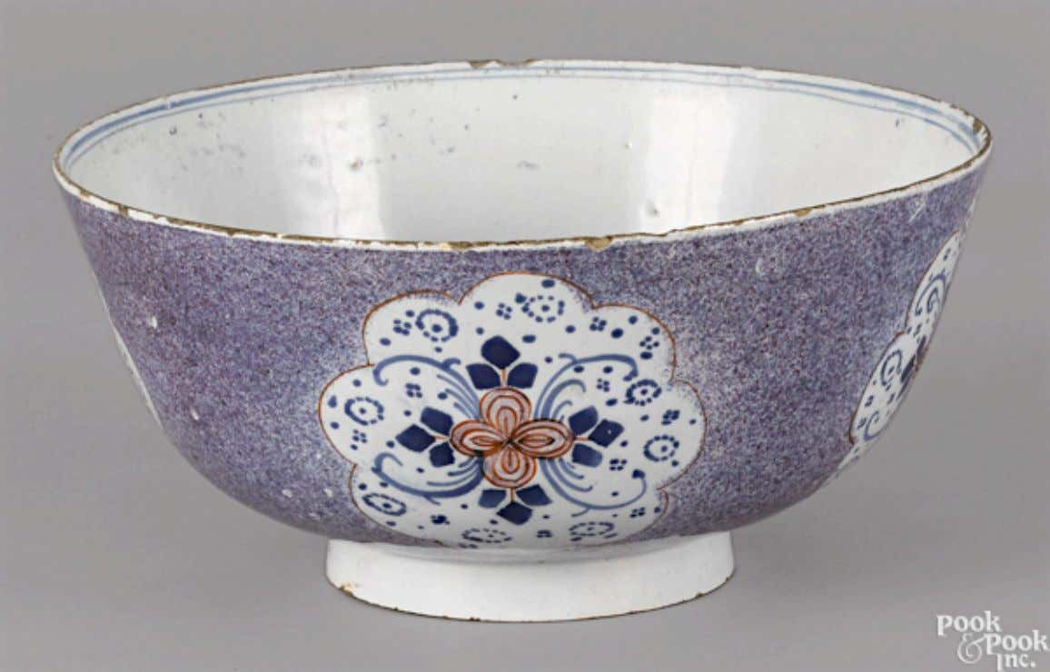 English Tin Glazed Polychrome Earthenware Punch Bowl from Bristol Mid 18th Century (Pook & Pook