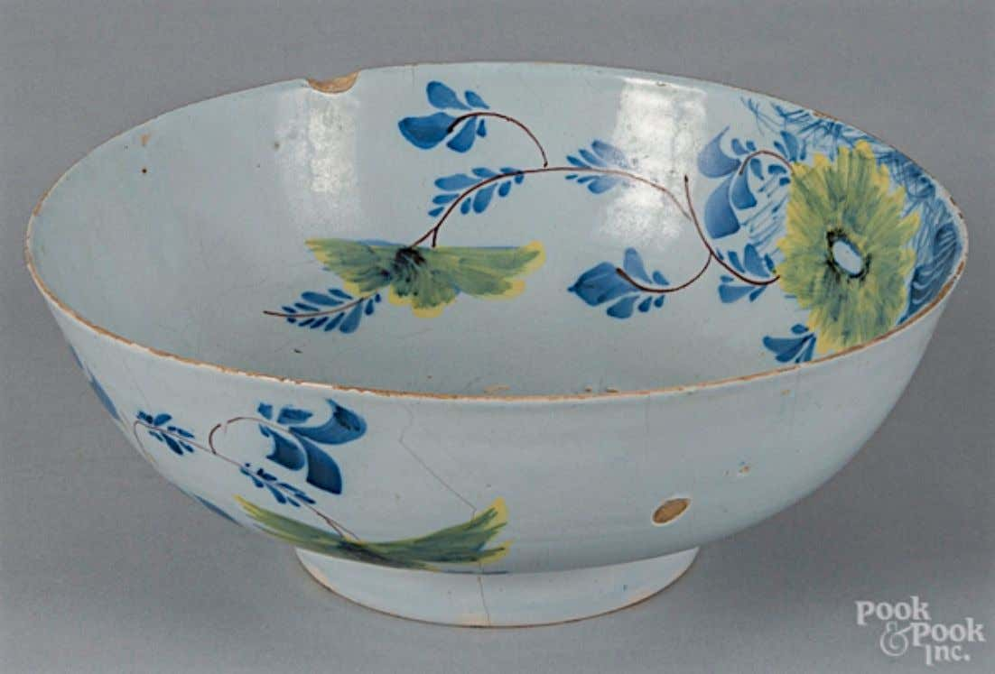 English Tin Glazed Polychrome Earthenware Fazackerly Punch Bowl Mid 18th Century (Pook & Pook Inc.)