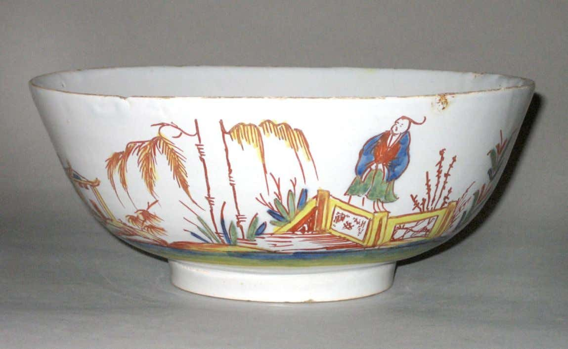 English Tin Glazed Earthenware Punch Bowl from Bristol c. 1730 - 1750 (Winterthur)