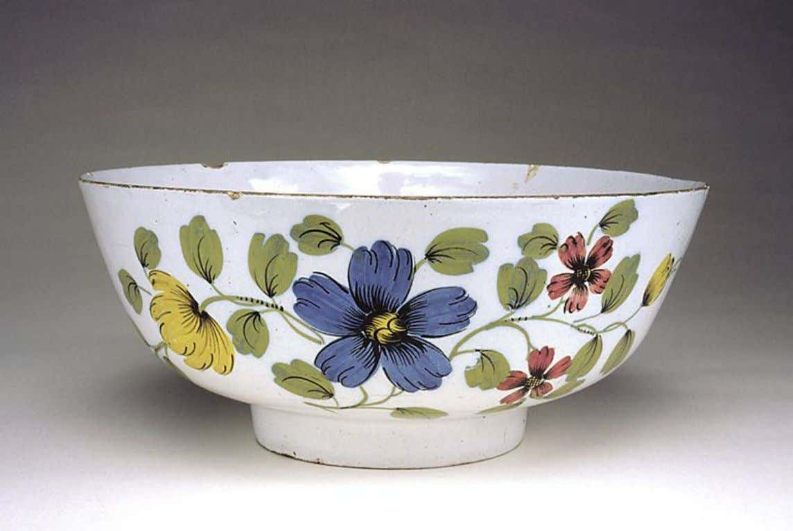 English or Irish Tin Glazed Earthenware Punch Bowl c. 1756 - 1759 (Five Colleges &