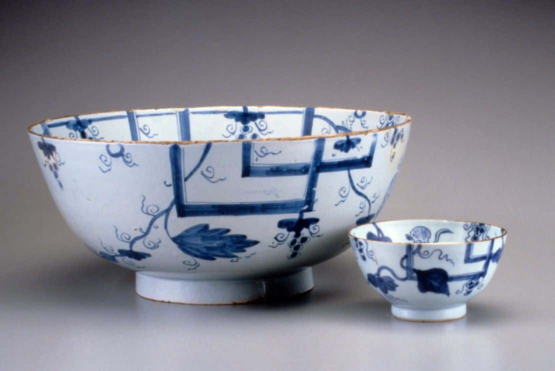 English Tin Glazed Earthenware Punch Bowls, Likely from Bristol c. 1750 - 1760 (Winterthur)