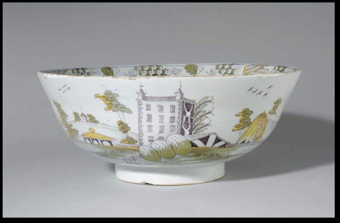 "English Tin Glazed Earthenware Punch Bowl from Liverpool ""Richard Wyatt, Appellsham, Prosperety to the Flock,"