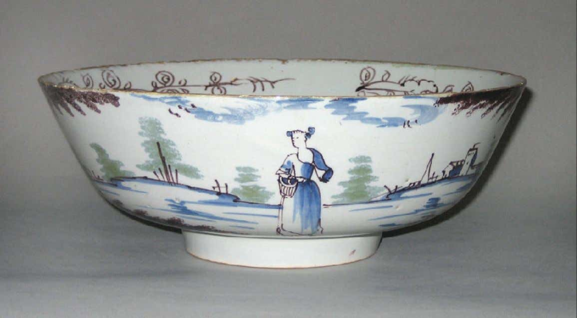 English Tin Glazed Earthenware Punch Bowl from Liverpool c. 1750 - 1775 (Winterthur)