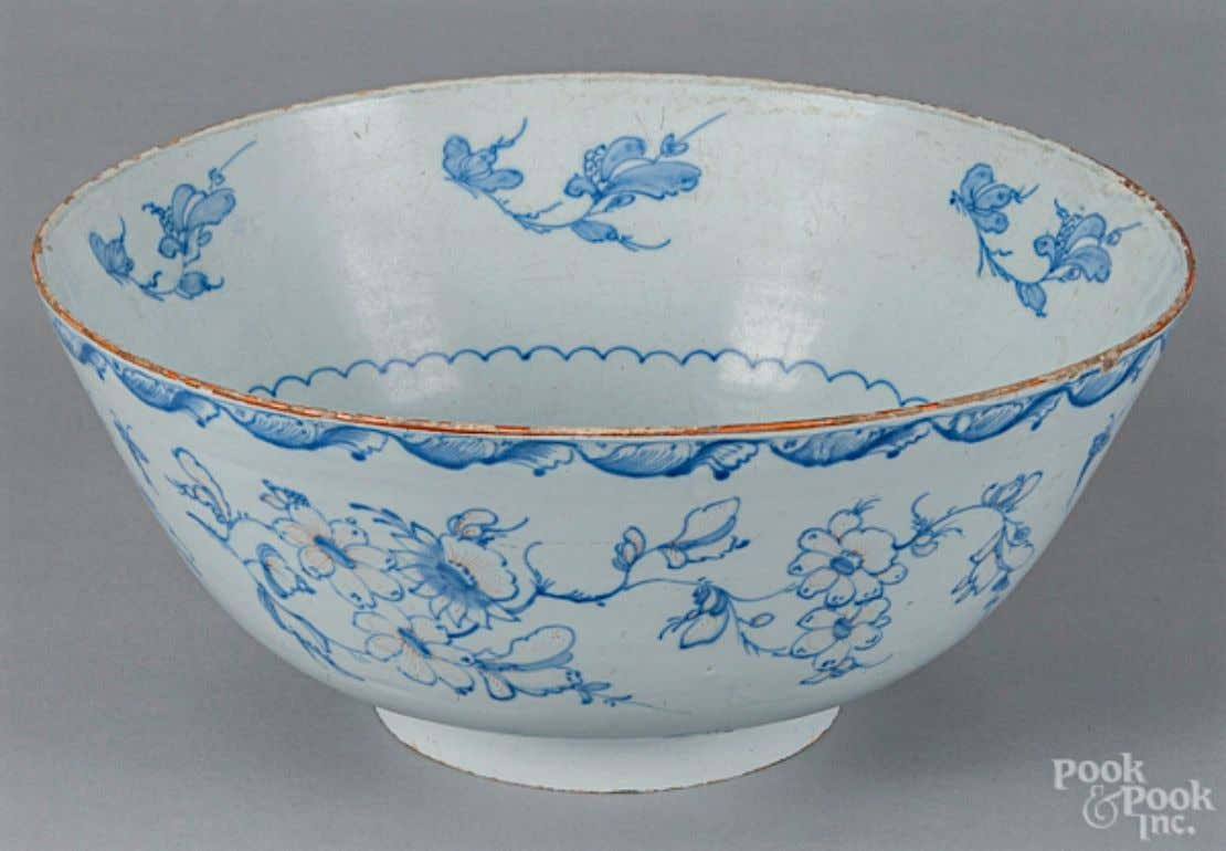 English Tin Glazed Earthenware Punch Bowl from Liverpool Mid 18th Century (Pook & Pook Inc.)