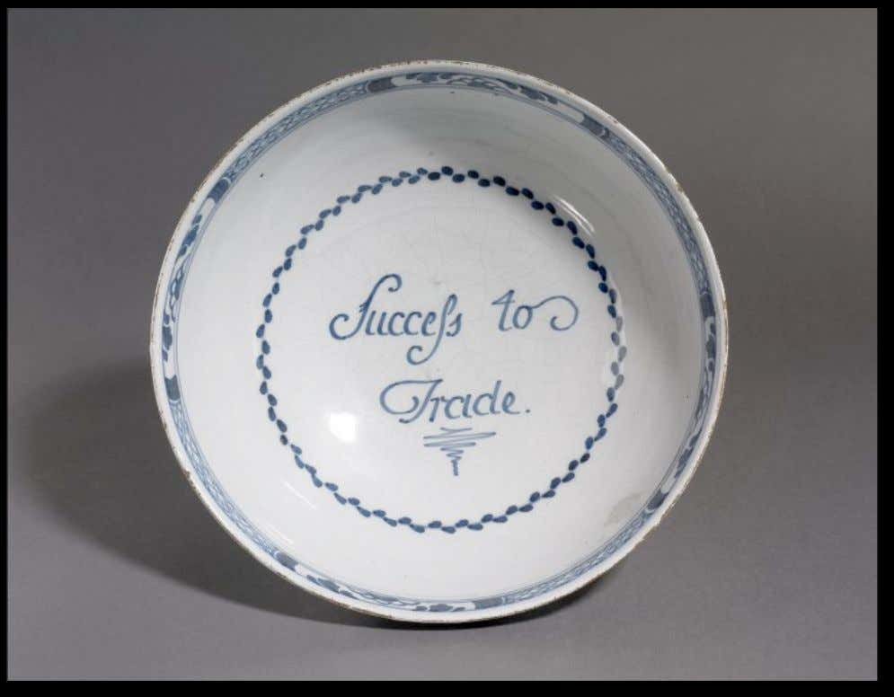 "English Tin Glazed Earthenware Punch Bowl from London Marked ""Success to Trade"" c. 1775 -"