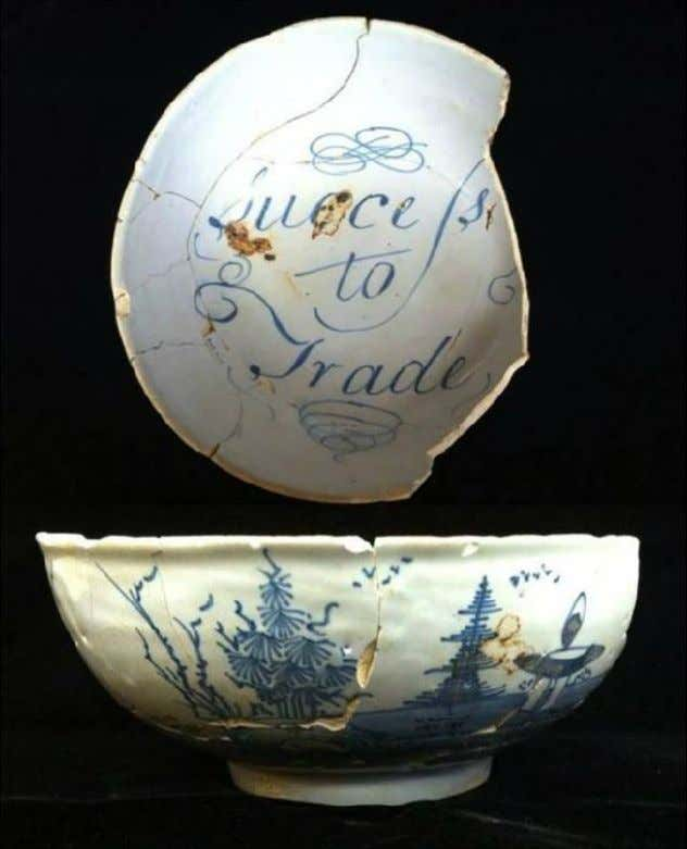 "English Tin Glazed Earthenware Punch Bowl from London Marked ""Success to Trade"" Recovered from the"