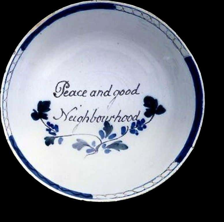 "English Tin Glazed Earthenware Punch Bowl Marked ""Peace and good Neighborhood"" Mid 18th Century (Private"