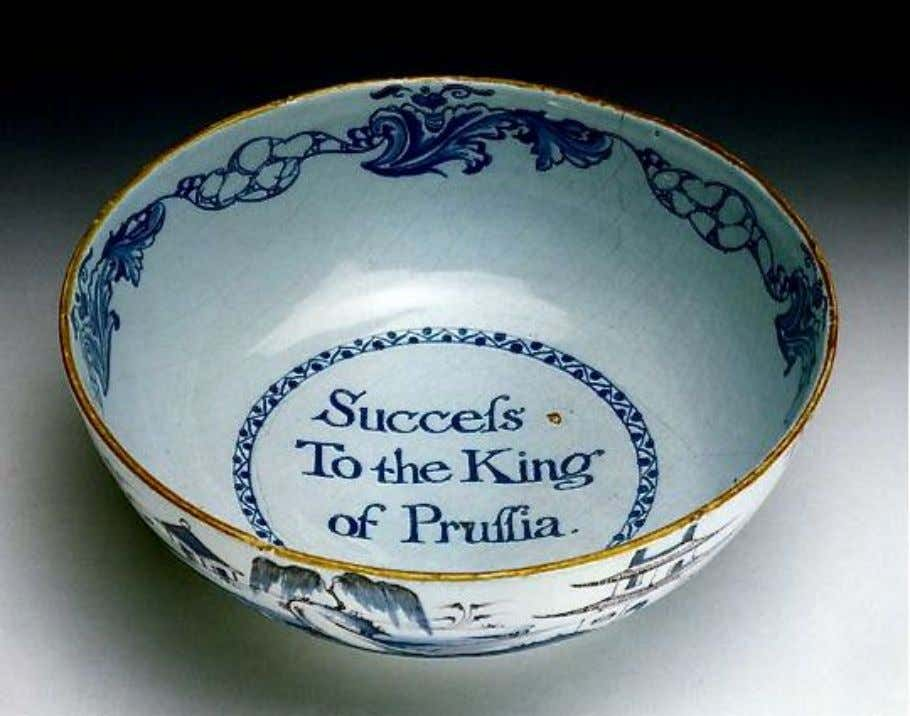 "English Tin Glazed Earthenware Punch Bowl Marked ""Success To the King of Prussia"" c. 1760"