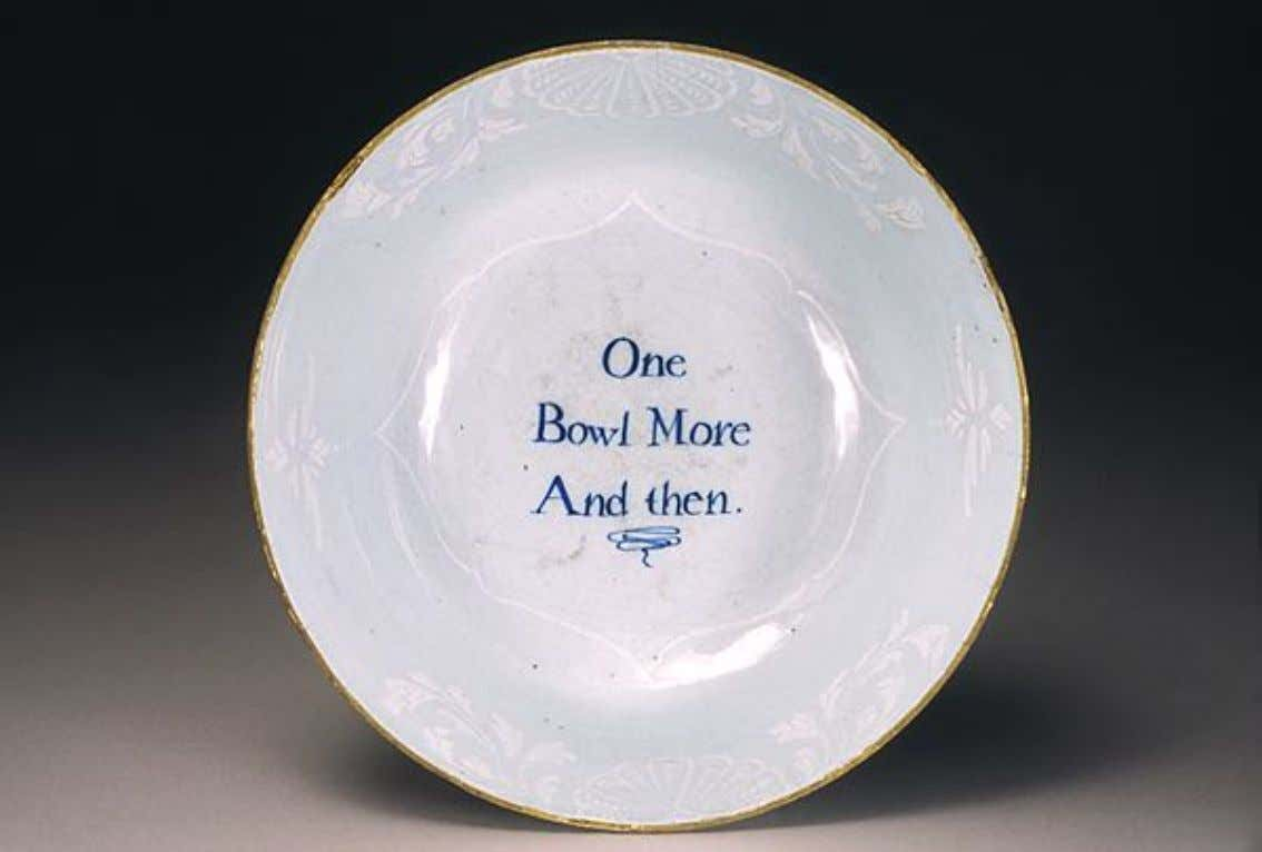 English Tin Glazed Earthenware Punch Bowl from London c. 1755 (Five Colleges & Historic Deerfield