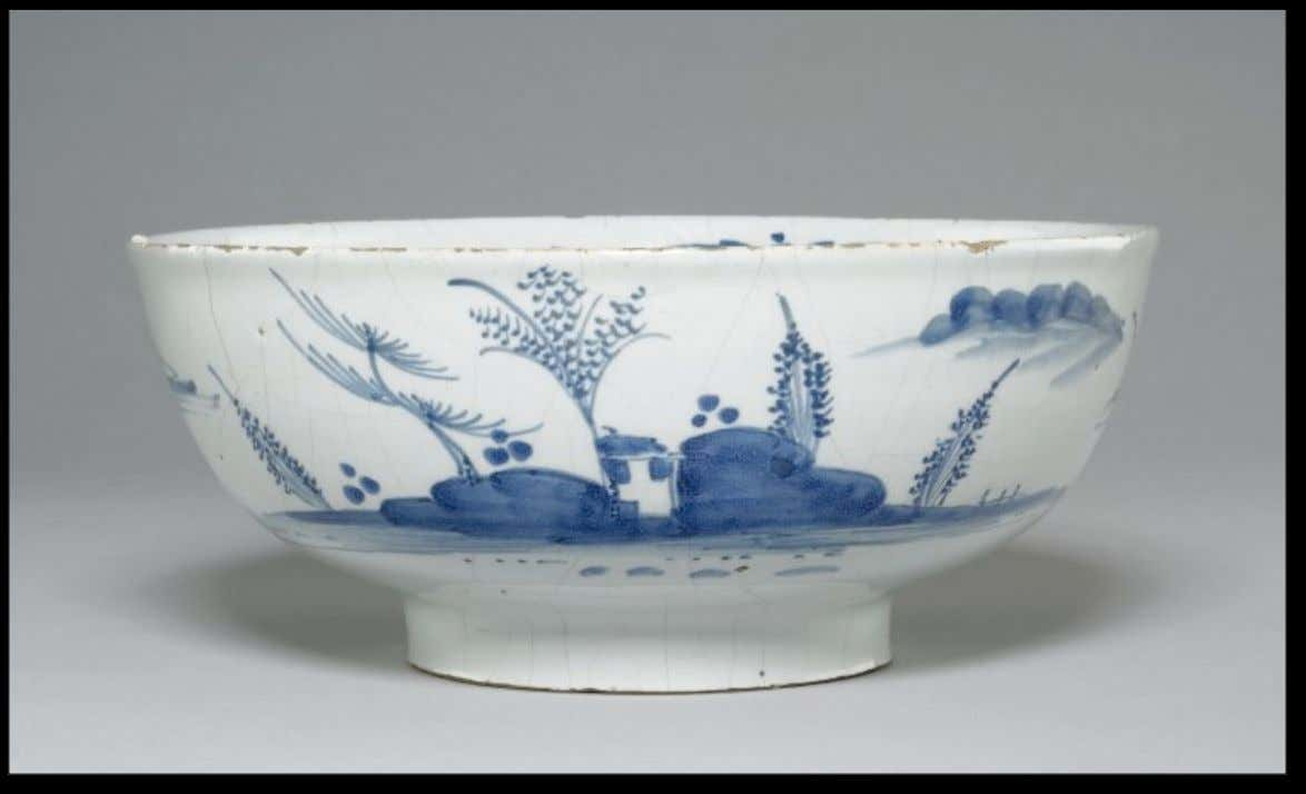 "English Tin Glazed Earthenware Punch Bowl Marked ""One more and then"" Mid 18th Century (The"