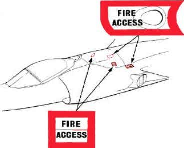 HAZARDS-Continued RIGHTSIDE FIRE ACCESS INTAKE APU EXHAUST AIRCRAFT SPINE SEA HARRIER FA2 TAIL UNDERSIDE CHAFF/FLARE