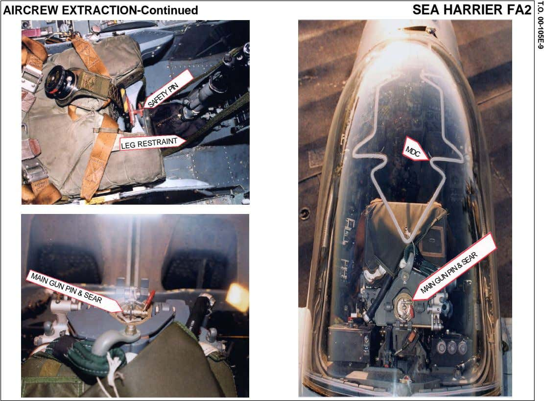 T.O. 00-105E-9 MDC AIRCREW EXTRACTION-Continued SEA HARRIER FA2 LEG RESTRAINT SAFETY PIN MAIN GUN PIN