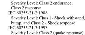 1 - Shock withstand, bump, and Class 2 - Shock response IEC 60255-21-3:1993 Severity Level: Class