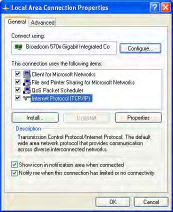 Installation Connecting to the Device Figure 2.4 Step 3. Local Area Connection Properties Select the Internet