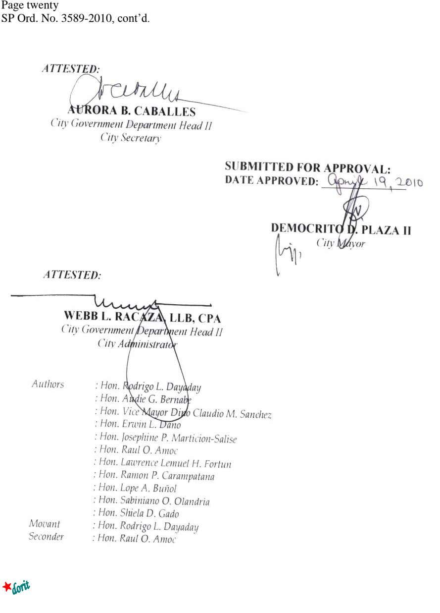 Page twenty SP Ord. No. 3589-2010, cont'd. ATTESTED: AURORA B. CABALLES City Government Department Head II