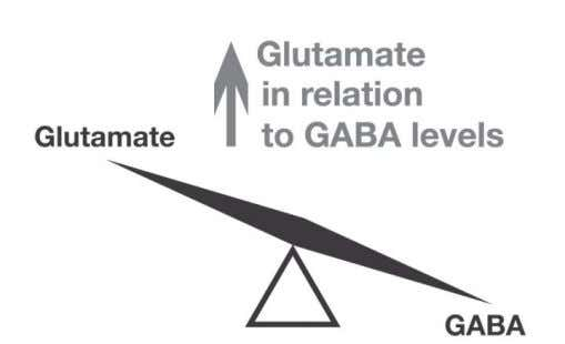at a seesaw and when Glutamate is too high GABA is too low. When Glutamate is