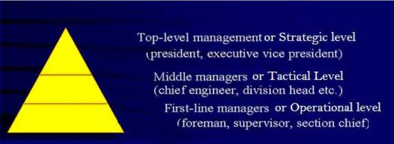 / Low level / Supervisory / Operative / First-line managers Level of management hierarchy Managers at