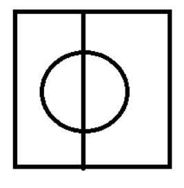 E XAMPLE : C UT S QUARE IN F OUR .  Area of circle is