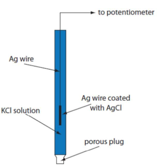 Schematic diagram showing the saturated calomel electrode Schematic diagram showing a Ag/AgCl electrode. 23