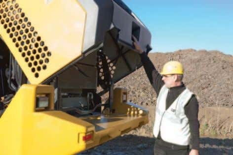 be removed utilizing built-in lift points. Clamshell Hood New to the loaders is a rear clamshell