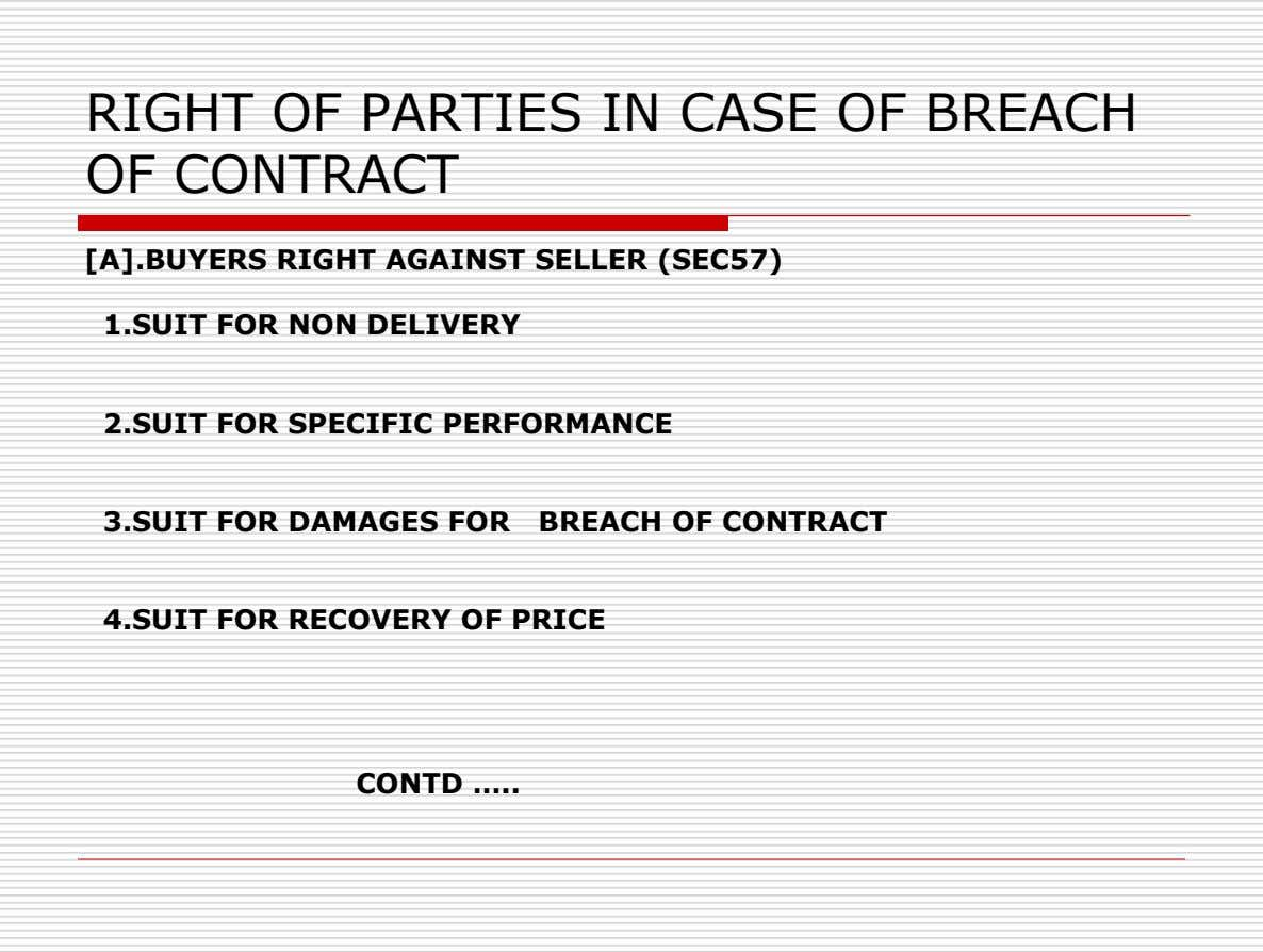 RIGHT OF PARTIES IN CASE OF BREACH OF CONTRACT [A].BUYERS RIGHT AGAINST SELLER (SEC57) 1.SUIT FOR