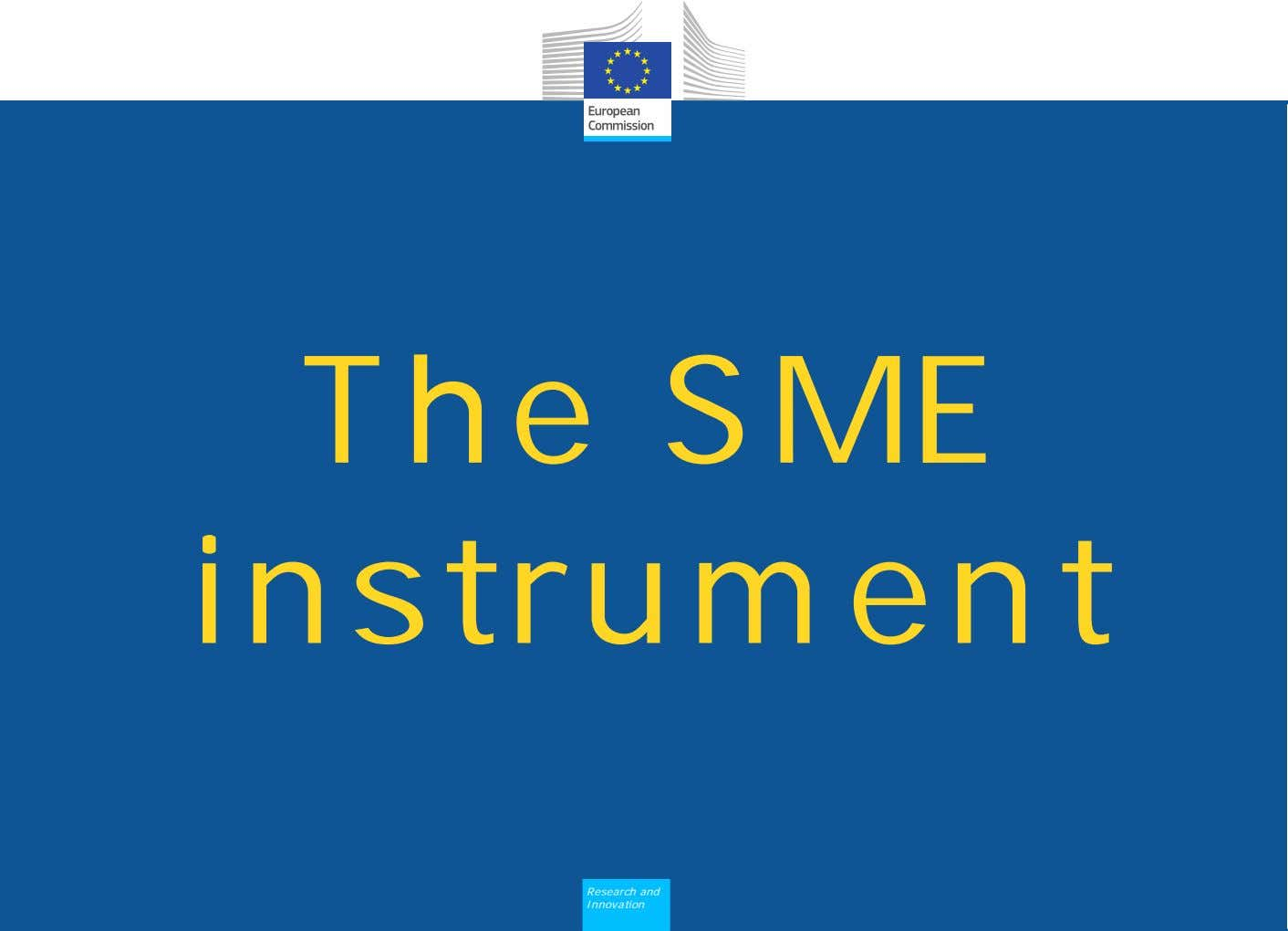 The SME instrument Research and Innovation