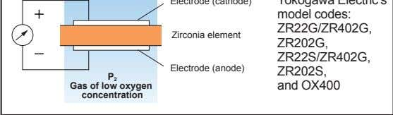 model codes: ZR22G/ZR402G, Zirconia element ZR202G, ZR22S/ZR402G, Electrode (anode) ZR202S, P 2 Gas of low