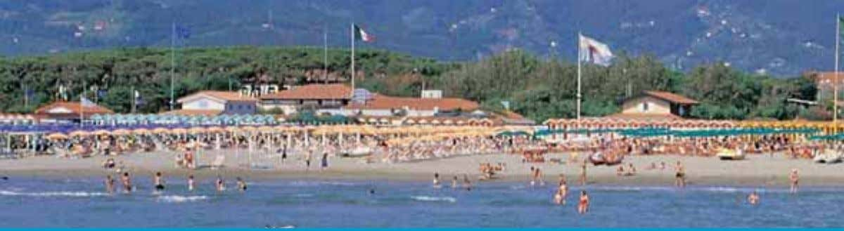 View of Forte dei Marmi from the pier towards the mountains Marina di Pietrasanta, the