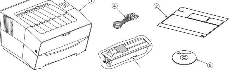 2GL/2FV/2FW Unpacking. Figure 1-3-2 Unpacking 1. Printer 2. Installation guide 3. Toner container 4. Power cord