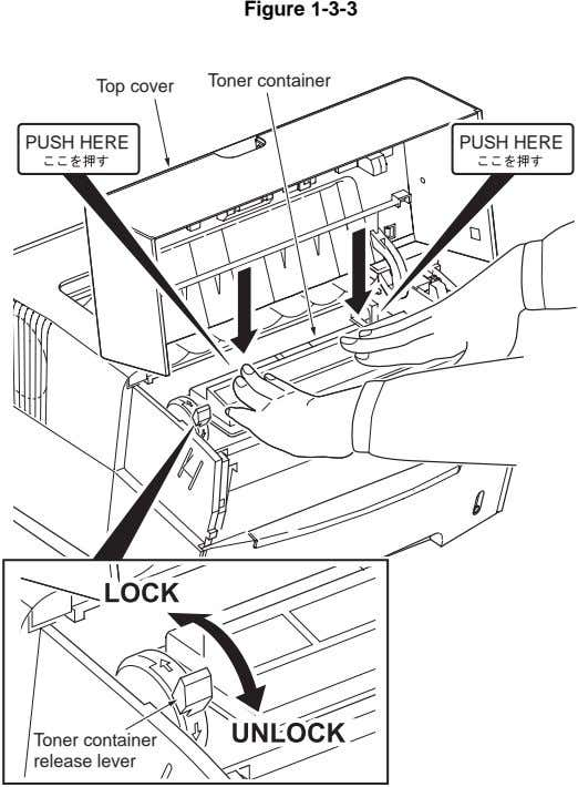 Figure 1-3-3 Toner container Top cover PUSH HERE PUSH HERE Toner container release lever