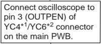 at pin 5 of YC4* 1 /YC6* 2 connector on the main PWB? Yes Connect oscilloscope