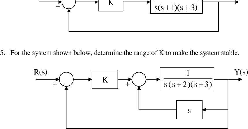 5. For the system shown below, determine the range of K to make the system