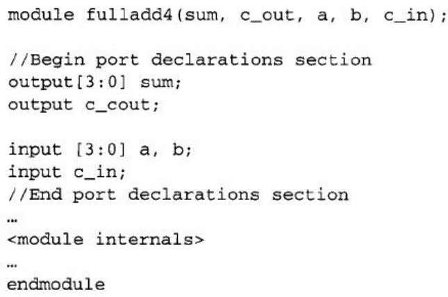 www.Jntuhubupdates.com Example 5 port declarations Note that all ports declarations are implicitly declared as wire in