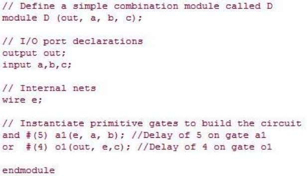 13 module D Example 11 Verilog Definition for Module D Delay The waveforms from the simulation