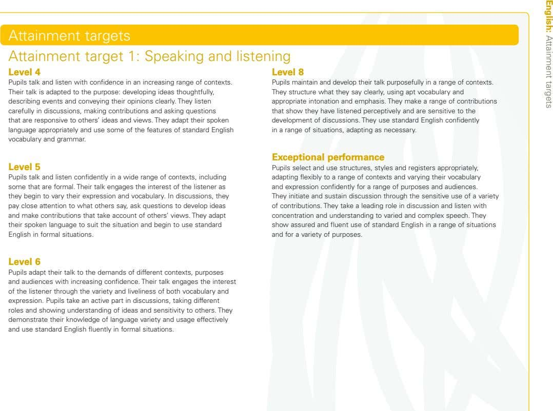 English: Attainment targets Attainment targets Attainment target 1: Speaking and listening Level 4 Level 8
