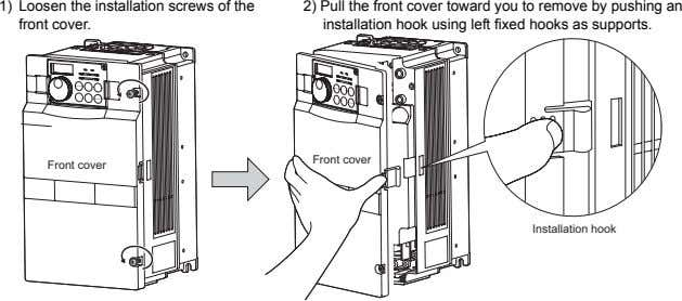 1) Loosen the installation screws of the front cover. 2) Pull the front cover toward