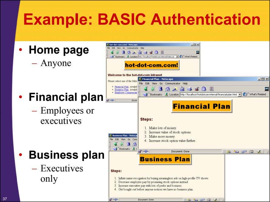 Example: BASIC Authentication • Home page – Anyone • Financial plan – Employees or executives
