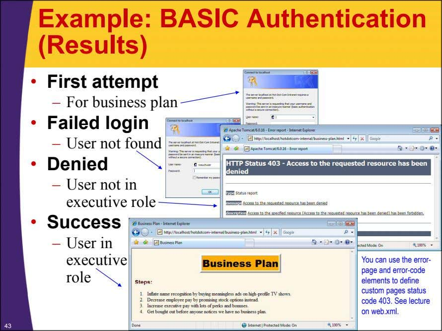 Example: BASIC Authentication (Results) • First attempt – For business plan • Failed login –