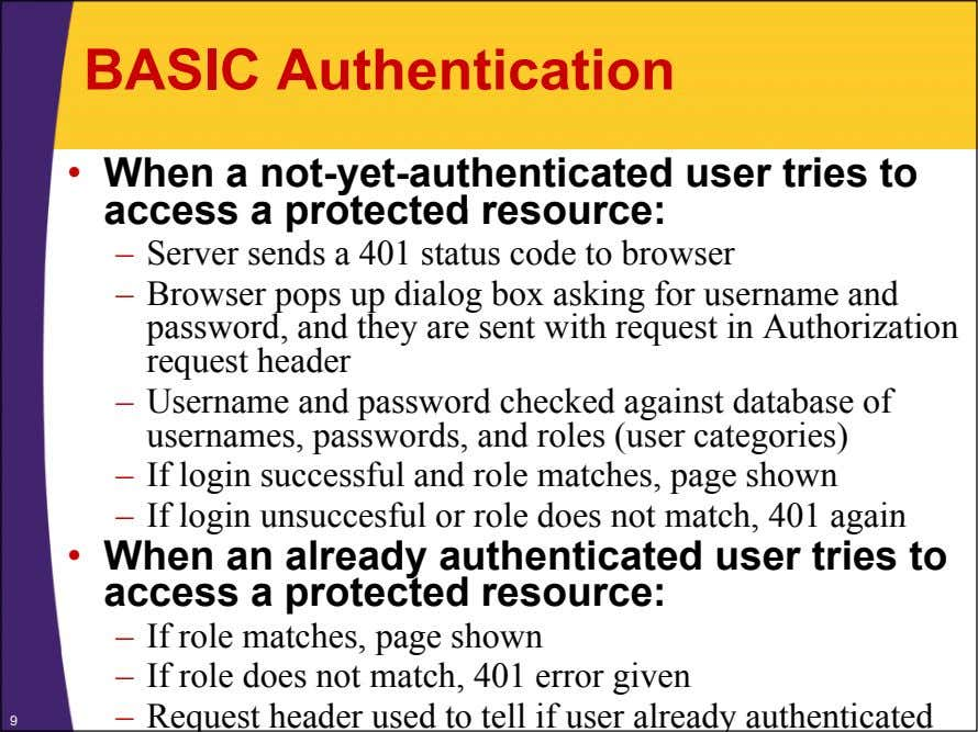 BASIC Authentication • When a not-yet-authenticated user tries to access a protected resource: – Server