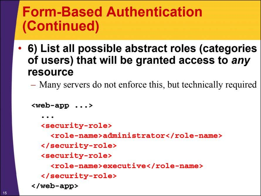 Form-Based Authentication (Continued) • 6) List all possible abstract roles (categories of users) that will