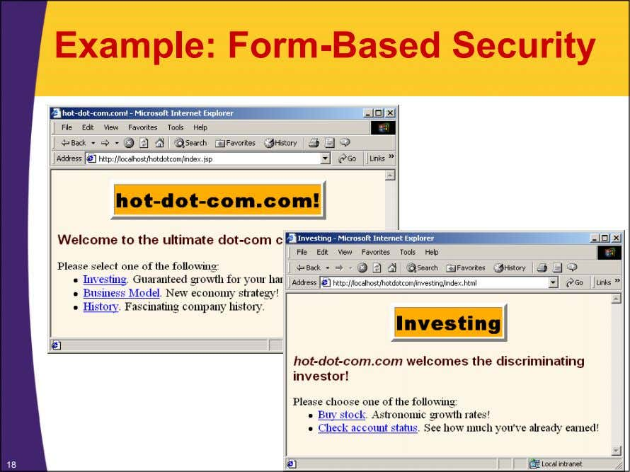 Example: Form-Based Security 18