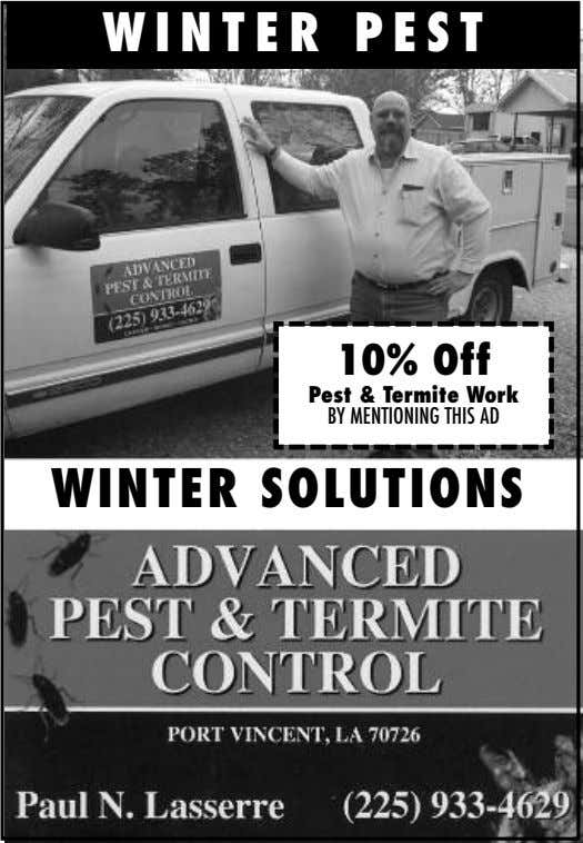 WINTER PEST 10% Off Pest & Termite Work BY MENTIONING THIS AD WINTER SOLUTIONS