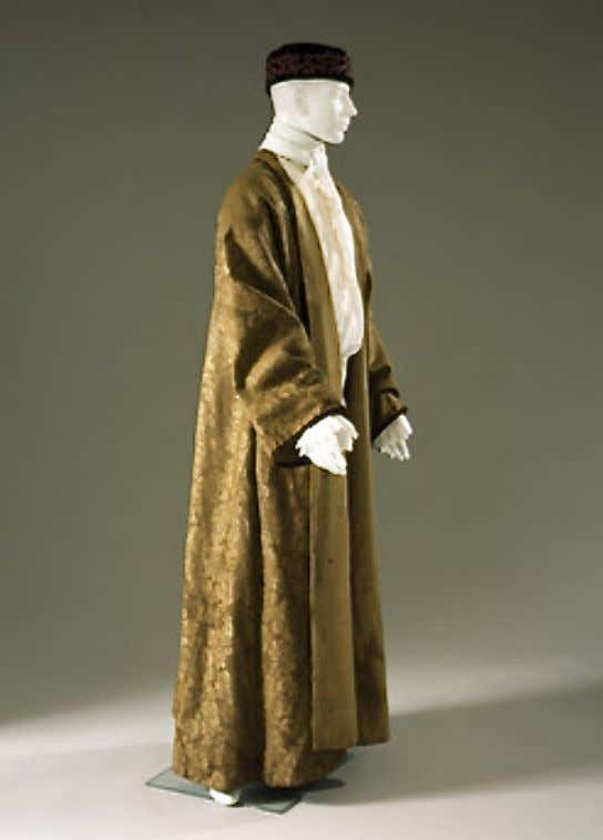 Brown Wool Damask Banyan Lined with Light Brown Twill, Trimmed in Velvet c. 1740 -