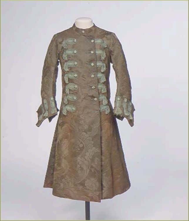 English Coat-Style Silk, Damask Wool and Olive Green Banyan c.1740 - 1750