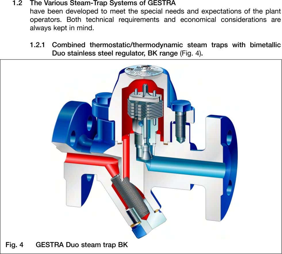 1.2 The Various Steam-Trap Systems of GESTRA have been developed to meet the special needs