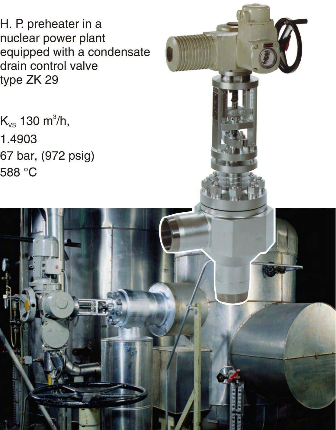 H. P. preheater in a nuclear power plant equipped with a condensate drain control valve